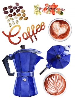 Watercolor set with coffee attributes. coffee pot, cappuccino, cup, berries and coffee beans