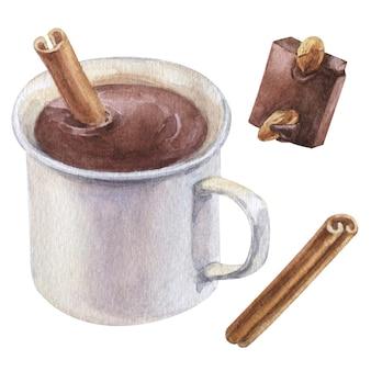 ホットチョコレート、シナモン、チョコレートのかけらをセットした水彩画