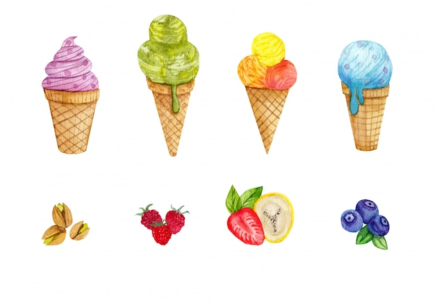 Watercolor set with ice creamwatercolor illustration