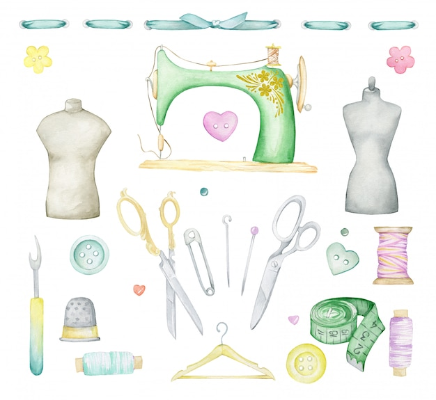 Watercolor sewing set. sewing mashine, buttons, pins, scissors, tape measure, threads, hangers, mannequins, tape.