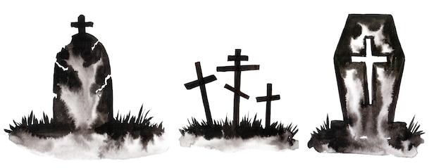 나무와 무덤의 수채화 실루엣입니다. 할로윈에 멋진 엽서