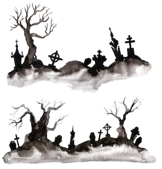 Watercolor silhouette of a tree and grave. wonderful postcard on halloween