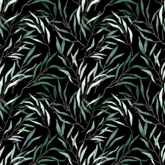 Watercolor silver green long eucalyptus branches pattern on black background