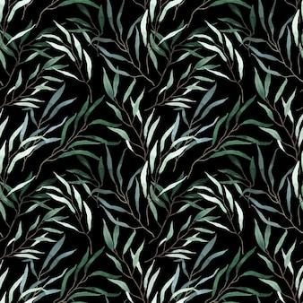 Акварель серебристо-зеленый длинный узор ветвей эвкалипта на черном фоне