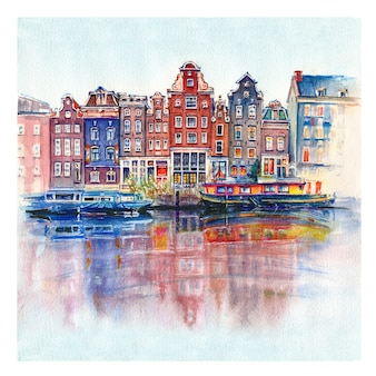 Watercolor sketch of amsterdam, holland, netherlands