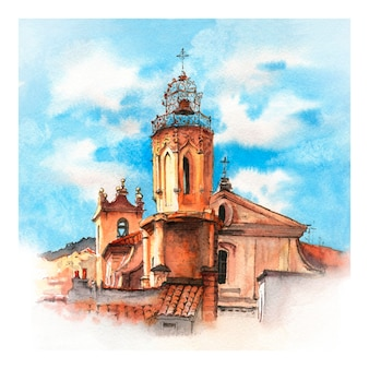 Watercolor sketch of belltower of church of the holy ghost in aix-en-provence, provence, france