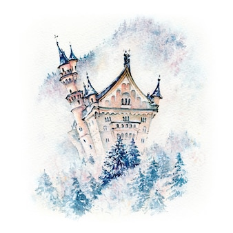 Watercolor sketch of fairytale neuschwanstein castle