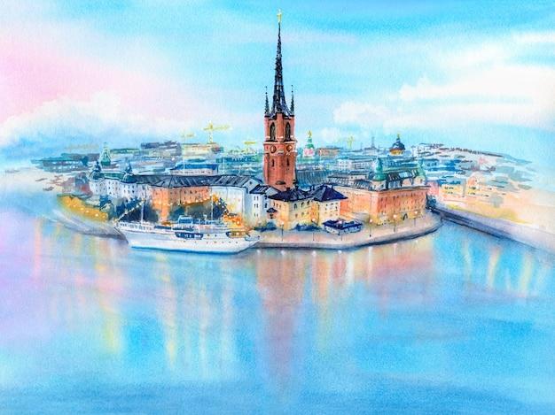 Watercolor sketch of gamla stan in stockholm, sweden