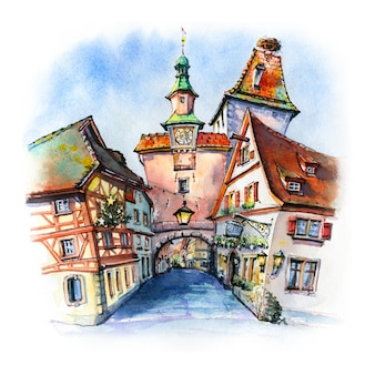 Watercolor sketch of markusturm