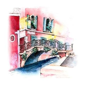 Акварельный эскиз моста в венеции, италия.