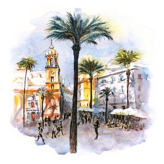 Акварельный эскиз соборной площади или пласа-де-ла-катедраль утром в кадисе, андалусия, испания.