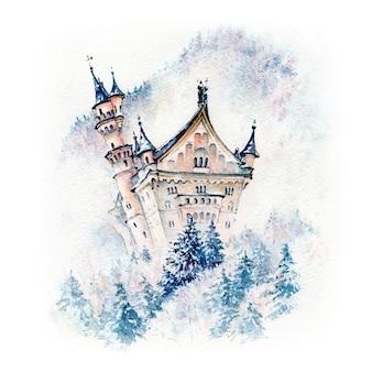 おとぎ話のノイシュヴァンシュタイン城の水彩スケッチ