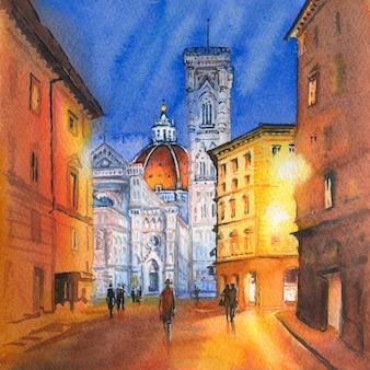 有名なドゥオモサンタマリアデルフィオーレ、洗礼堂、ジョットの鐘楼のフィレンツェ、トスカーナ、イタリアのドゥオーモ広場の水彩スケッチ