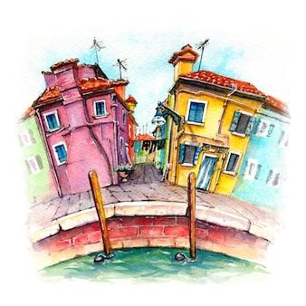 ブラーノ島、ヴェネツィア、イタリアの水彩スケッチ。