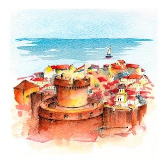 Акварельный эскиз башни минчета в дубровнике, хорватия