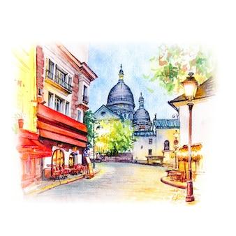 フランス、パリのモンマルトルの水彩スケッチ。