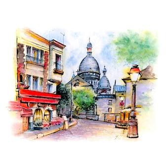 Акварельный эскиз монмартра в париже, франция.