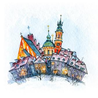 Акварельный эскиз старого города в зимний день, варшава, польша