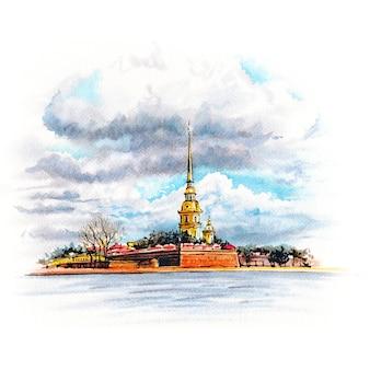 Акварельный эскиз петропавловской крепости в санкт-петербурге, россия