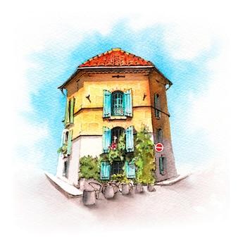 Акварельный эскиз провансальского дома, арль, франция
