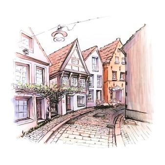 중세 브레멘에서 schnoor의 수채화 스케치