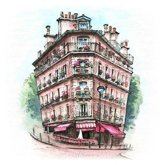 Акварельный эскиз типичного парижского дома, париж, франция