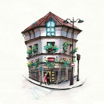 典型的なパリの通り、パリ、フランスの水彩スケッチ。
