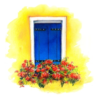 Акварельный эскиз окна с синими ставнями и красными цветами на желтой стене домов