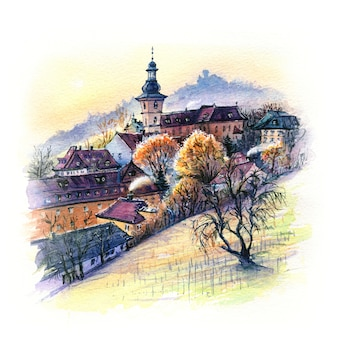 Watercolor sketch of old town of bamberg