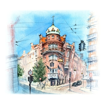 Watercolor sketch of old town of copenhagen,denmark