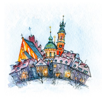 Watercolor sketch of old town in winter day, warsaw, poland