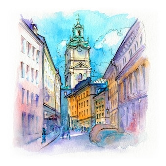 Watercolor sketch of stockholm cathedral