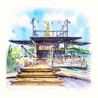 Watercolor sketch of summer cafe on malta lake in poznan poland