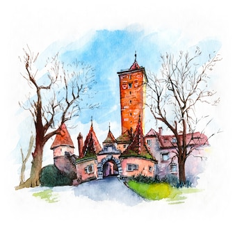 Watercolor sketch of tower burgturm