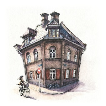 Watercolor sketch of typical danish house