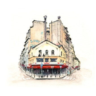 Watercolor sketch of typical parisain house with cafe and lanterns, paris, france.