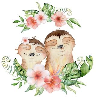 Акварельные ленивцы несут. влюбленная пара