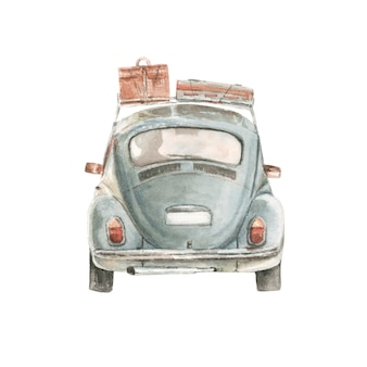Watercolor small car with suitcases