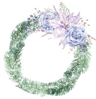 青いバラと紫のポインセチアの花と水彩の雪に覆われたクリスマスツリーの花輪