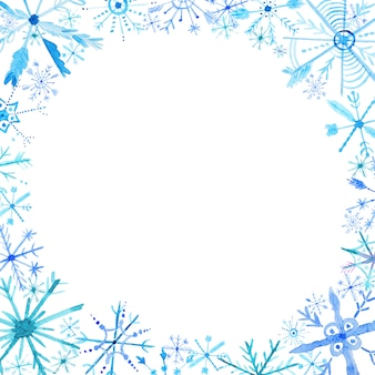 Watercolor snowflakes frame background