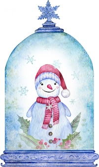Watercolor snowman in the blue christmas snow globe. new year symbol. christmas card.
