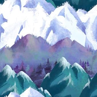 Watercolor snowy mountain seamless pattern