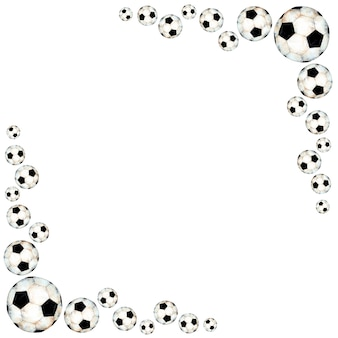 Watercolor soccer sport frame decorated with ball corner frame sports equipment