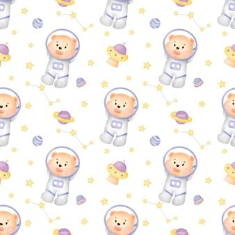 수채화 공간 곰 원활한 패턴