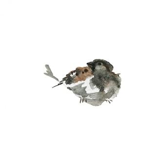 水彩スズメ。白地に手描きの小鳥