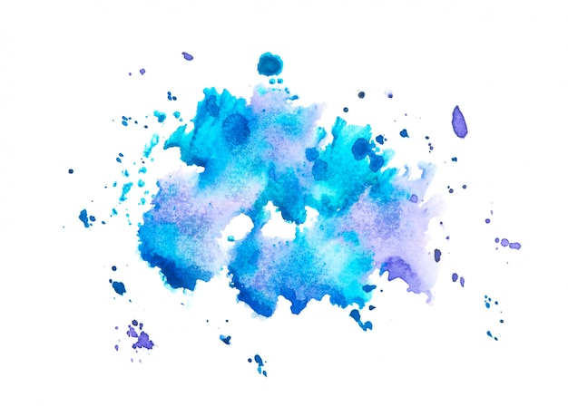 Watercolor splash background.color blue shades art drawn on paper