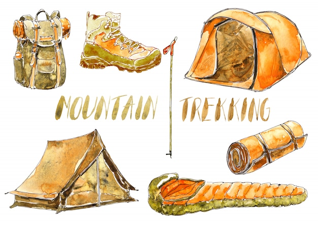 Watercolor sport and camping equipment