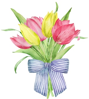 Watercolor spring bouquet with pink and yellow tulips decorated with a striped blue bow. easter card. hand-drawn illustration isolated