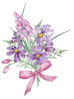 Watercolor spring bouquet with purple and pink flowers decorated with a striped pink bow