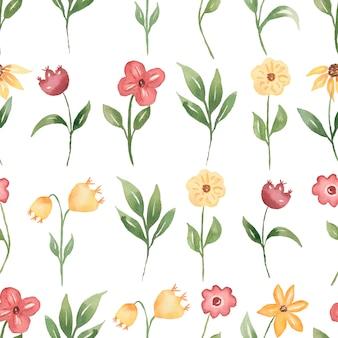 水彩春のデジタルペーパー。野生の花のシームレスな春のパターン。中立的な繊細な緑の花柄のパターン。草原の花